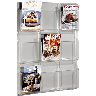 Safco® Deluxe Crystal-Clear One-Piece Magazine Racks, 9 Pockets