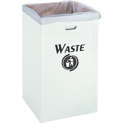 Safco® Corrugated Waste Receptacle, 40 Gallons, White, 12/Ct