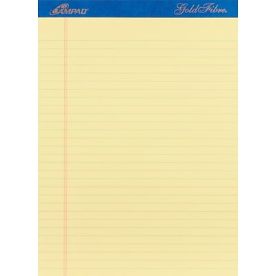 Ampad® Gold Fibre® Writing Pad 8-1/2x11-3/4, Wide Ruling, Canary, 50 Sheets/Pad