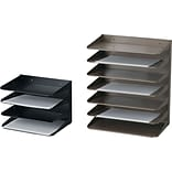 Horizontal Files, Letter Size, Steel, 3 Trays, Stand Alone or Mountable, 12x8-3/4x6-3/8, Black