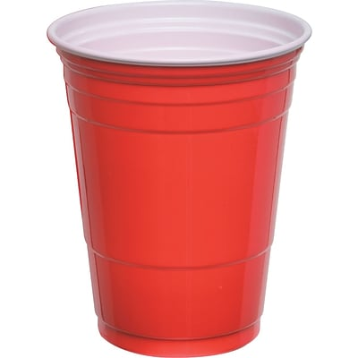 Quill Brand® Plastic Party Cups, 16 oz., Red, (Compare to Solo®), 50/Pack