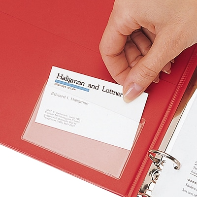 Cardinal® Hold-It® Business Card Pocket, 3-3/4x2-3/8, Top Loading