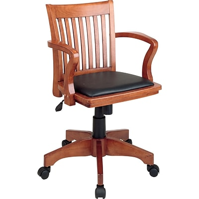 Office Star Mid-Back Classic Wood Bankers Chair; Fixed Arms, Black