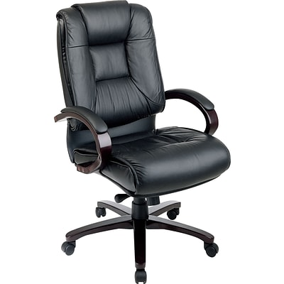 Office Star High-Back Leather Executive Chair, Fixed Arms, Black
