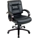 Office Star® Leather Executive Mid-Back Chair; Black with Mahogany Wood Finish