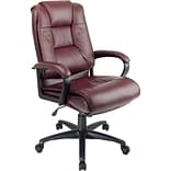 High-Back Leather Executive Chair; Burgundy