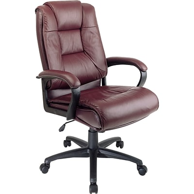 Office Star™ High-Back Leather Executive Chair, Burgundy