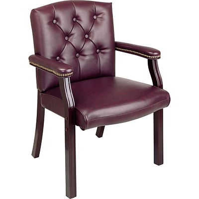 Office Star Burgundy Traditional Guest Chair, Closed Back