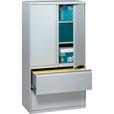 HON® 700 Series 2 Drawer Lateral File Cabinet w/Roll-Out & Posting Shelves, Light Grey, Letter/Legal, 36W (HON785LSQ)