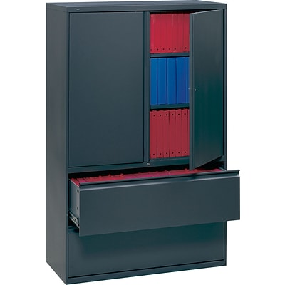 HON® 700 Series Lateral Files, 5-High with Roll-Out and Posting Shelves, 67Hx36W, Charcoal
