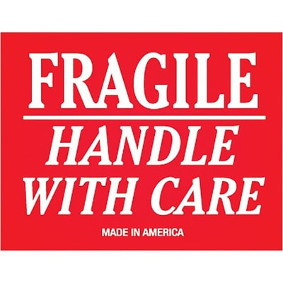 Tape Logic® Labels, Fragile - Handle With Care, 3 x 4, Red/White, 500/Roll
