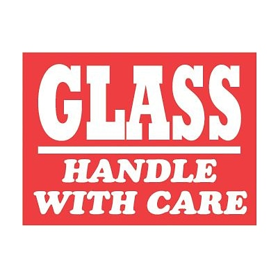 Tape Logic® Labels, Glass - Handle with Care, 3 x 4, Red/White, 500/Roll