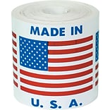 Tape Logic® Labels, Made in U.S.A., 2 x 2, Red/White/Blue, 500/Roll