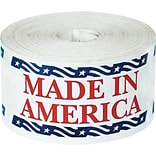 Tape Logic® Labels, Made in America, 2-1/2 x 5, Red/White/Blue, 500/Roll