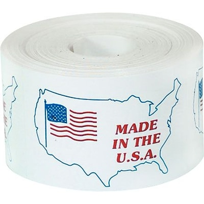 Tape Logic® Labels, Made in the U.S.A., 3 x 4-1/2, Red/White/Blue, 500/Roll
