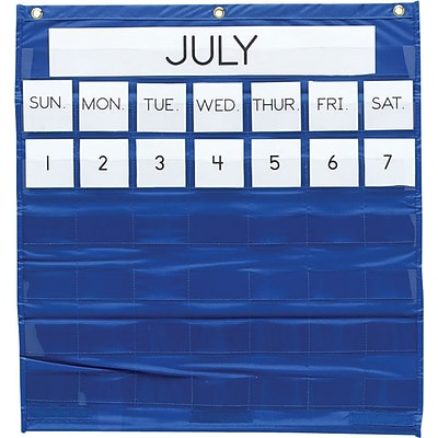 Monthly Calendar Pocket Chart, 25x28, Blue