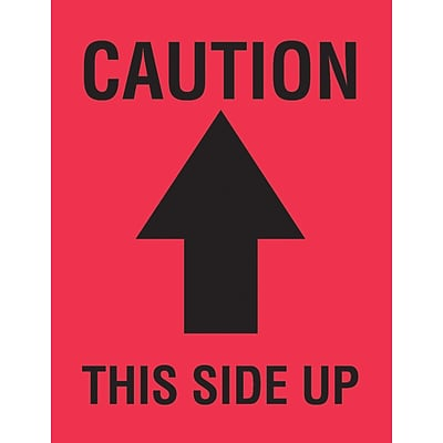 Tape Logic® Labels, Caution This Side Up, Arrow, 4 x 3, Red/Black, 500/Roll