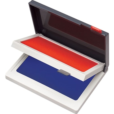 Cosco Two-Color Felt Stamp Pads, Red/Blue, 2 3/4 x 4 1/4