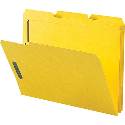 TRU RED™ Reinforced End Tab Classification Folder, 2 Expansion, Letter Size, Yellow, 50/Box (TR18343)