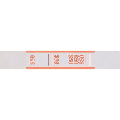 MMF Industries® Currency Bands, Orange/$50, 20,000/Carton