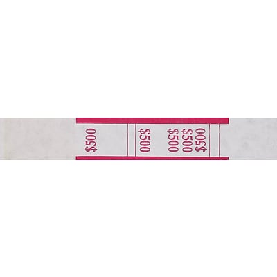 MMF Industries® Currency bands, Red/$500, 20,000/Carton