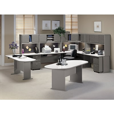 Bush Business Cubix 48W Corner Desk, Pewter/White Spectrum, Installed