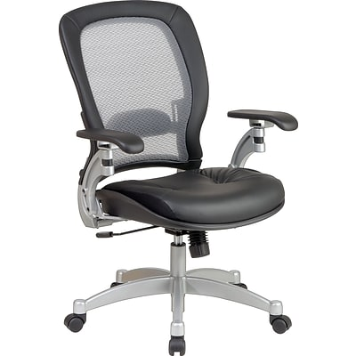 Office Star SPACE® Air Grid™ Mid-Back Executive Chair, Leather/Mesh, Black, Seat: 20W x 19 1/2D, Back: 21W x 23H