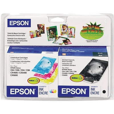 EPSON® T044120 T044520 Black and Tri-Color Ink Cartridges Multi-pack (4 cart per pack)