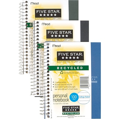 Mead® Five-Star® Personal Notebook 5x7, College Ruling, White, 100 Sheets/Pad