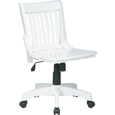 Office Star Vintage Wood Bankers Chair, Armless, White