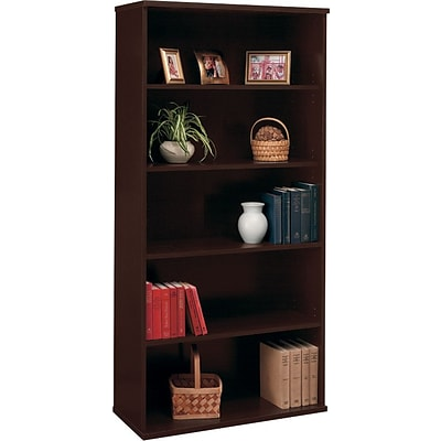 Bush Business Westfield Elite 36W 5 Shelf Bookcase, Mocha Cherry, Installed