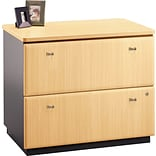 Bush Business Cubix 36W 2Dwr Lateral File, Euro Beech/Slate, Installed