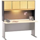 Bush Business Cubix 60W Hutch, Euro Beech/Slate, Installed