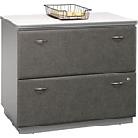 Bush Business Cubix 36W 2Dwr Lateral File, Pewter/White Spectrum, Pre-Assembled