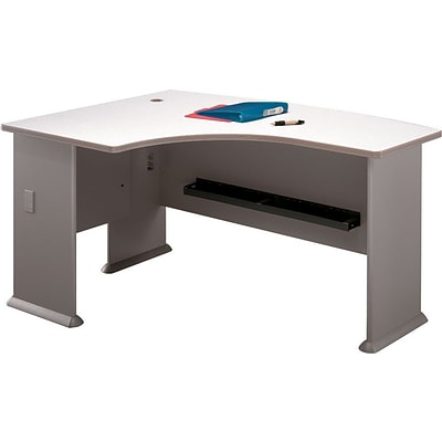 Bush Business Cubix 60W x 44D Left Hand L-Bow Desk, Pewter/White Spectrum