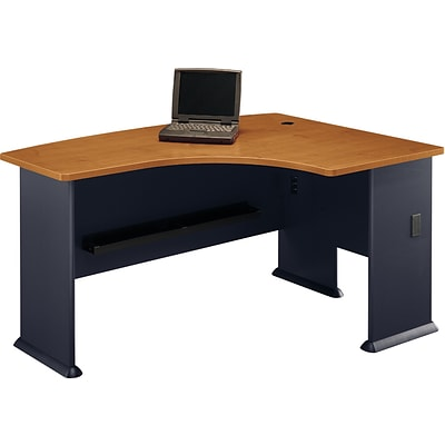 Bush Business Cubix 60W x44D Right Hand L-Bow Desk, Natural Cherry/Slate, Installed