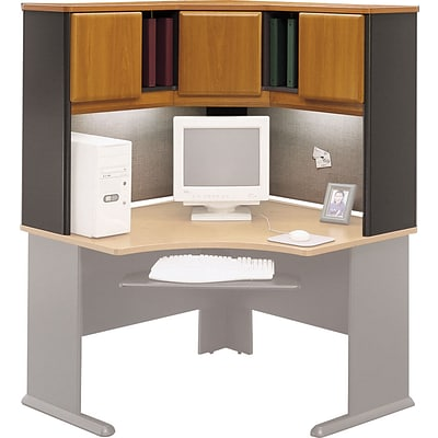 Bush Business Cubix 48W Corner Hutch, Natural Cherry/Slate