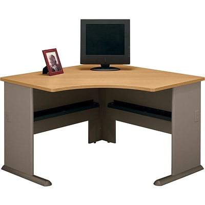 Bush Business Cubix 48W Corner Desk, Danish Oak/Sage, Installed