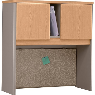 Bush Business Cubix 36W Hutch, Danish Oak/Sage
