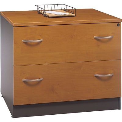 Bush Business Westfield 36W 2Dwr Lateral File, Natural Cherry/Graphite Gray, Pre-Assembled