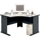 Bush Cubix™ Collection Corner Desk, White Spectrum/Slate Gray, 29 7/8H x 47 1/4W x 47 1/4D, Dock