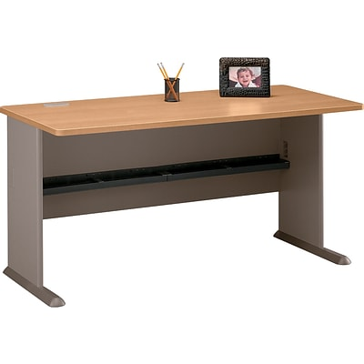 Bush Business Cubix 60W Desk, Danish Oak/Sage