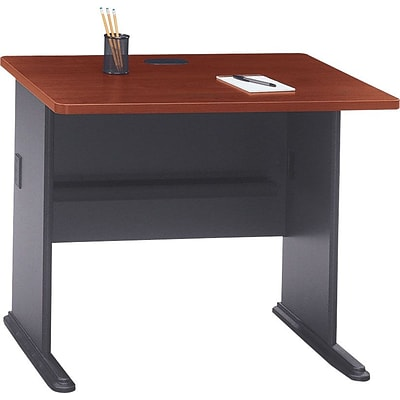 Bush Business Cubix 36W Desk, Hansen Cherry/Galaxy