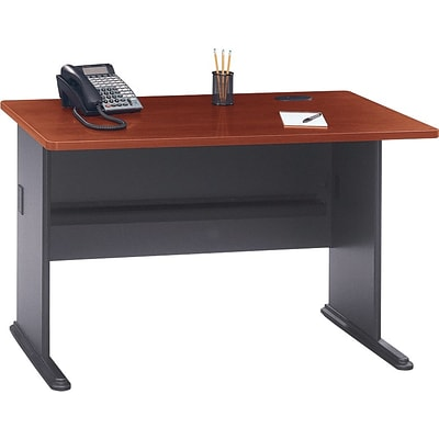 Bush Business Cubix 48W Desk, Hansen Cherry/Galaxy