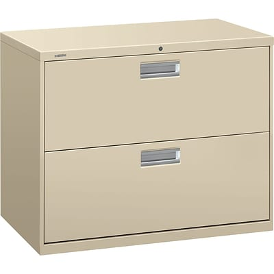 HON Brigade 600 Series Lateral File, 2 Drawers, Aluminum Pull, 36W, Putty Finish NEXT2018 NEXT2Day