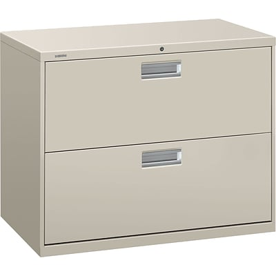 HON® Brigade 600 Series Lateral File Cabinet, A4/Legal/Letter, 2-Drawer, Light Gray, 19 1/4D (682LQ)