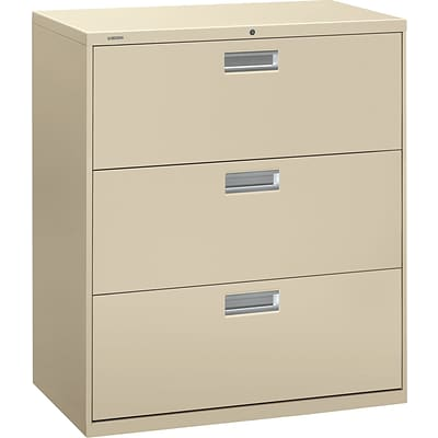 HON Brigade 600 Series Lateral File Cabinet, A4/Legal/Letter, 3-Drawer, Putty, 19 1/4D (OH683LL) NEXT2017 NEXT2Day