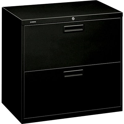 HON® Brigade® 500 Series 2 Drawer Lateral File Cabinet, Letter/Legal, Black, 30W (H572LP)