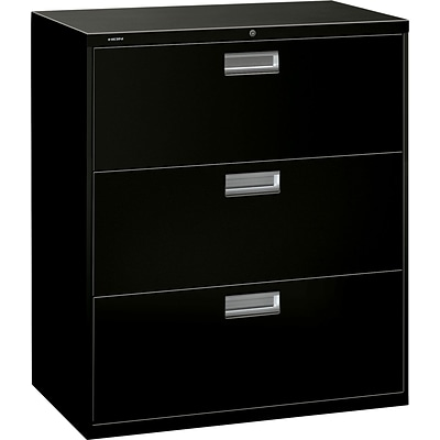 HON Brigade 600 Series Lateral File Cabinet, A4/Legal/Letter, 3-Drawer, Black, 19 1/4D (OH683LP) NEXT2017 NEXT2Day