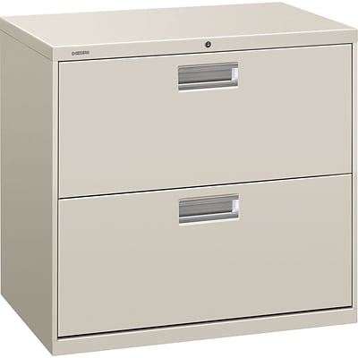 HON® Brigade® 600 Series Lateral, 2-Drawer, Light Gray, 19.25D